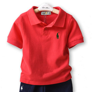 2019 summer kids designer clothes boys children lapel short sleeves polo t shirt boys tees brand baby girl clothes girls classic cotton tops on Sale