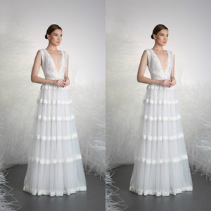 Wholesale Tony Word 2020 White Evening Dresses V Neck Lace Appliqued Tulle Long Formal Party Gowns Floor Length Special Occasion Prom Dress