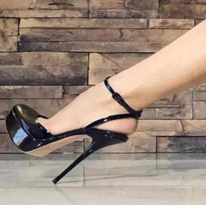 Wholesale Hot Selling Black Patent Leather High Platform Pumps Shoes Women Ankle Strap Thin Heeled Cut out Banquet Dress Shoes Plus Size