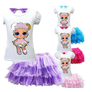 INS Surprise Girl Kids Skirt Tee Suit 2019 Summer Girls Sequined short-sleeve bow T-shirt +TUTU Short Skirt Set Fashion Baby Clothes A32006 on Sale