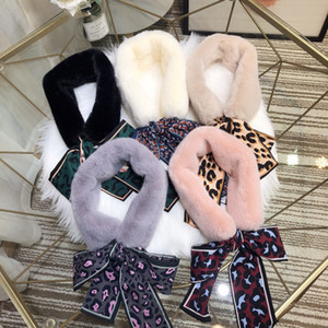 Wholesale 5 colors wgg women s Korean leather fur scarf winter warm black white natural girl collar wrapped neck warm scarf bib