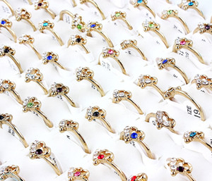 Wholesale Top Quality Beautiful Alloy Silver Plated Rhinestone Heart Ring New Mixed Man And Woman Charm Luster Rings