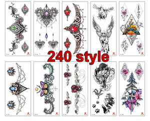 Wholesale henna style hand tattoos for sale - Group buy 240 style Women Men DIY Henna Body Art Waterproof Tattoo Design Butterfly Tree Branch Vivid Temporary Tattoo Sticker