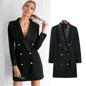 Autumn Fashion women blazers and jackets double-breasted Chic Ladies blazer feminino coat female Solid Long Style Black blazer