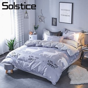 Solstice Home Textile Deer Gray Bedding Sets For Boy Kid Teenage King Queen Twin Linens Duvet Cover Pillow Cases Flat Bed Sheets on Sale