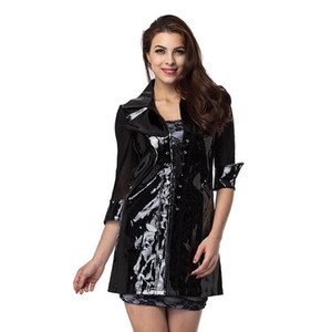 Wholesale Black Transparent Mesh Half Sleeve And Glossy Leather Jacket Women Coat Club Wear Sexy Costumes Latex Leather PVC Dress Lace Up