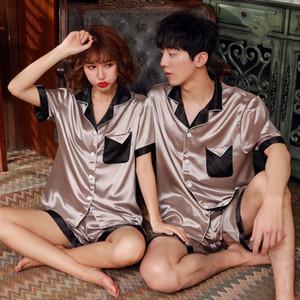 Mens Short Pajamas Set Silk Satin Pyjams Unit Summer Nightwear Pockets Couple Sleepwear Male Lounge Home Suit Women XXL XXXL