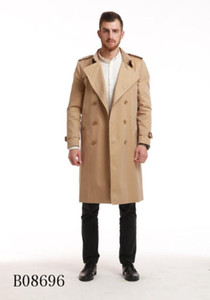 HOT CLASSIC! men fashion England Style long trench high quality cotton double breasted trench coat for men men brand name trenches B8696F390