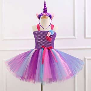Wholesale 7 Style Flower Girls Unicorn Tutu Dress With Headband Fancy Girl Party Dress Rainbow Tulle Princess Dress Kids Halloween Costume Q190522