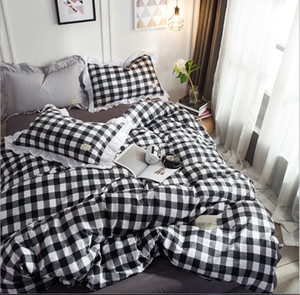 Wholesale Japan Style Cotton a family of four bedding Set Thick Striped Winter 4 Duvet Cover set
