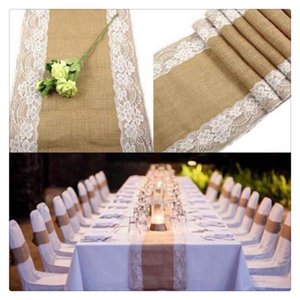 Wholesale Burlap Lace Hessian Table Runner Jute Tablecloth Country Wedding Party Decoration Pulling Them Together With Marvelous Style Strange