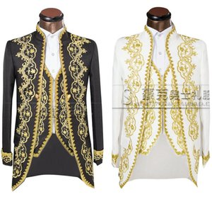 Wholesale Jacket pants vest Gold Fashion Men suits Slim Fit Tailcoat Groom wedding Prom Dress Suit Embroidered Male For Tuxedo