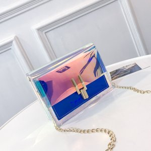 Designer- Women Plastic Messenger Handbag Transparent Laser Handbag Clutch Shoulder Crossbody Bag Chain Bag Clear Bag Evening Purse on Sale