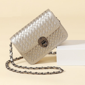 Wholesale Amazing2019 Weave Woman Bag Small Real Diagonal Chain Package Single Shoulder Satchel