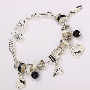 Wholesale Hot Sale Silver Bracelet Sterling Silver Women Fashion Costume Fine heart Lovely Angle Crystal Beads Charm Bracelets Jewelry for Women