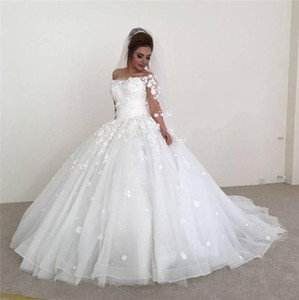 Wholesale 2019 New Luxury Arabic A Line Wedding Dresses Off Shoulder Sleeve Lace D Floral Appliques Sweep Train Plus Size Formal Bridal Gowns