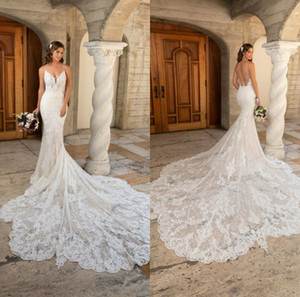 Wholesale modern kitty resale online - Kitty Chen Mermaid Wedding Dresses Spaghetti Sweep Train Lace Appliqued Beach Wedding Dress Custom Made Backless Robes De Mariée