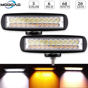 Wholesale 60W Led Work Light Bar Inch Dual Color Amber White Yellow Fog Lamp Driving Work Headlight Flood Spot Fog Golde Lamp Car Styling
