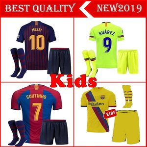 Wholesale 2018 MESSI Kids kit Soccer Jersey RAKITIC SUAREZ PIQUE Home Away Child Suit Football Shirts A INIESTA RAFINHA Girl Kits Short Jerseys