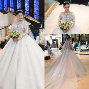 Luxury Design Princess Ball Gown Sparkly Diamonds Wedding Dress Long Sleeve Appliques Lace Bling Shiny Wedding Bridal Gowns