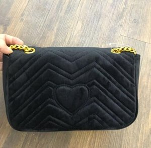 Wholesale Classic velvet black gold chain hot sell retail new bags handbags shoulder bags tote bags messenger