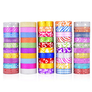 Wholesale 2016 pcsglitter Washi Tape Set Japanese Stationery Scrapbooking Decorative Tapes Adhesive Tape Kawai Adesiva Decorativa T190618