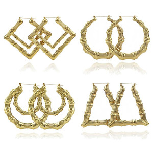 2019 2020 Fashion Jewelry Multiple Shapes Ethnic Large Vintage Gold Plated Bamboo Hoop Earrings for Women 9 Modes free choice