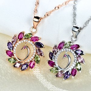 Wholesale Hot selling exquisite new luxury pendant peacock colorful gem girl
