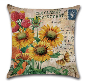 Wholesale painting sunflowers for sale - Group buy Sunflower Cushion Covers Vintage Style Decorative Pillows Cover Hand Painted Flower Throw Pillow Case Sofa Seat Home Decor WZW YW3371