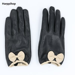 butterfly women Genuine Leather Gloves Touch Perforated Thin Section Sheepskin Driving Gloves Wrist Winter Male Leather