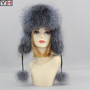 Wholesale 2019 Genuin Fox Fur Hats Lady Real Fox Fur Lei Feng Cap for Russian Women Bomber Hats with Leather Caps Retail