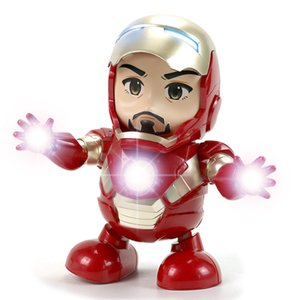 Wholesale Dance Iron Man Doll CM Marvel Avengers Action Figure Toy Led Flashlight With Light Sound Music Robot Superhero Electronic Gifts for kids