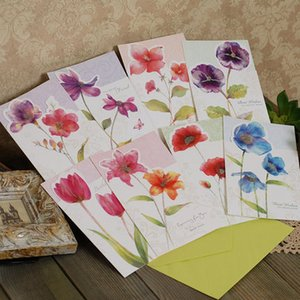 Wholesale birthday cards for sale - Group buy Eno Greeting Watercolor Flower Greeting Cards Birthday Wishes Gift Message Cards