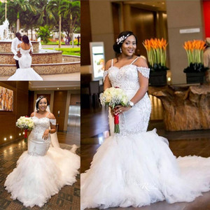 Hot African Mermaid Wedding Dresses 2019 Off Shoulder Crystal Beaded Tiered Ruffles Court Train Custom Plus Size Formal Bridal Gowns