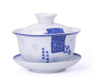 new arrival blue and white tieguanyin gaiwan kungfu tea set three pieces porcelain traditional Chinese beauty