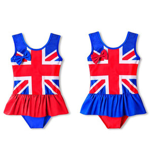 Girls One Piece Swimsuit Bow Stripe Sleeveless Flag Print Swimsuit American Flag Independence National Day USA 4th July Lotus Leaf Swim
