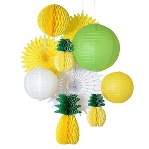 Wholesale Yellow Green White Summer Party Decoration Set Honeycomb Pineapple Paper Lantern Fans Balls Luau Beach Tropical Party Backdrop