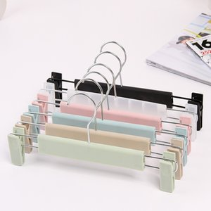 Wholesale Colorful black transparent pink Plastic Hanger For Lingerie Underwear Anti skidding Clothing Pants Skirt Clip Hangers Rack