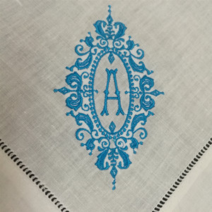 Wholesale Set of Fshion Table Napkins linen Hemstitch Table Dinner Napkins x20 inch Monogrammed Initial Tea Napkins