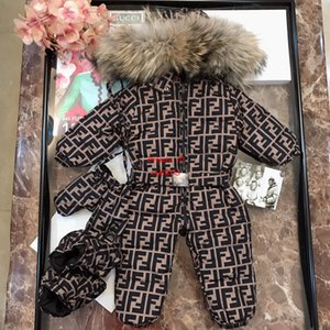 Wholesale Baby down jacket kids designer clothing winter new baby jumpsuit cover letter pattern design goose down feather filled jumpsuit custom