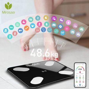 Mrosaa Body Fat Scale Smart BMI Scale LED Digital Bathroom Wireless Weight Scale Balance bluetooth APP Android IOS on Sale