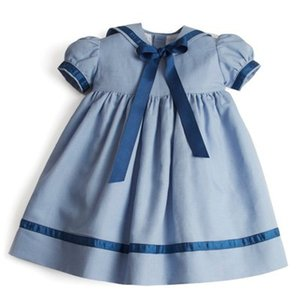Wholesale summer spain resale online - INS Girls Bows ribbon tie dress summer children navy lapel puff short sleeve dress preppy style kids Spain cotton pleated dress A2115