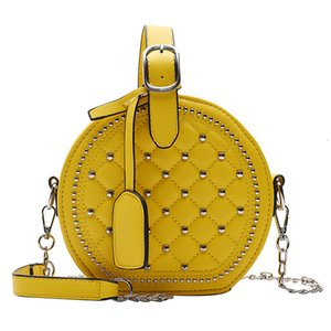 Puimentiua Nice Solid Women Round Bag Chains Luxury Handbags Women Bags Small Shoulder Bags Female Purse Black Yellow Red