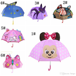 Wholesale Kids Umbrellas Animals Print Polyester Sunny Rainy Umbrella Lion Rabbit Cat Hanging Long handle Straight Umbrella Gifts DH1081