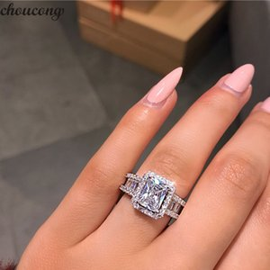 vecalon Court Promise Ring 925 sterling Silver 3ct 5A Zircon cz Engagement Wedding Band Rings For Women Evening Party Jewelry