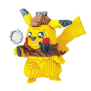 Wholesale Detective Pikachu Small particles building blocks toys Pocket monster Bricks action figures Blocks toy for children birthday gift B11