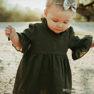 Wholesale INS Autumn Baby Girl Princess Dress Three Quarter Solid Army Green Ruffle Sleeve Turtleneck Ruffle Tutu Dress Girls Clothes