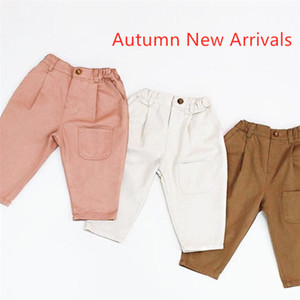 Fall INS New Autumn Kids Boys Girls Trousers Tatting Cotton Casual Fashion Blank Front Pockets Vintage Elastic Waist Children Pants on Sale