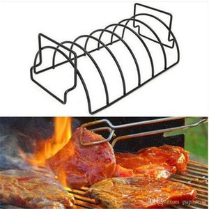 Wholesale Sales Non Stick Metal Wire BBQ Grill Stand Steak Holder Roasting Rib Rack Kitchen Tool Barbecue grill supplies barbecue tool
