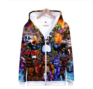 Wholesale boys Five Nights at Freddy 3D Zipper Hoodies KIDS Spring Skull Print Long Sleeve Funny Hoodies Popular Soft Clothes